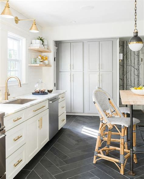 herringbone tile floor kitchen contemporary with accent white and gold kitchen with black herringbone floor tiles
