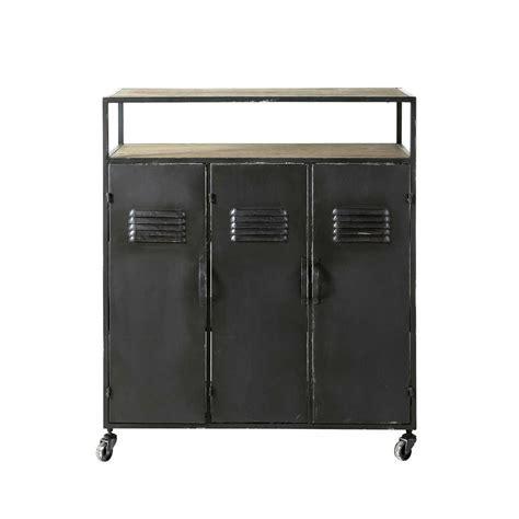 cuisine zinc maison du monde meuble de bar indus à roulettes en métal anthracite l 85