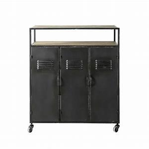 Meuble Bar Maison Du Monde : meuble de bar indus roulettes en m tal anthracite l 85 ~ Nature-et-papiers.com Idées de Décoration
