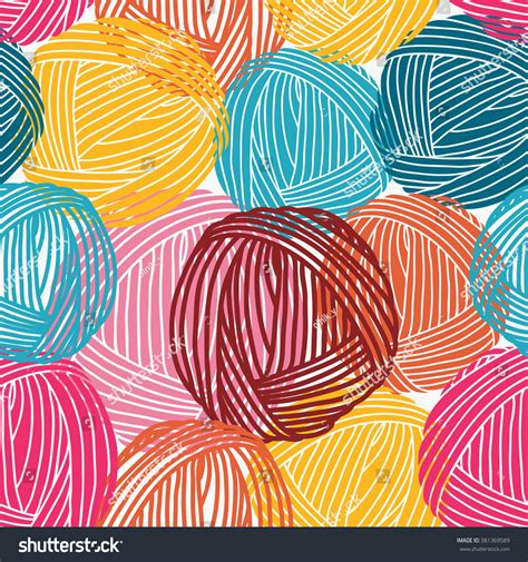 wool balls yarn skeins seamless pattern stock vector