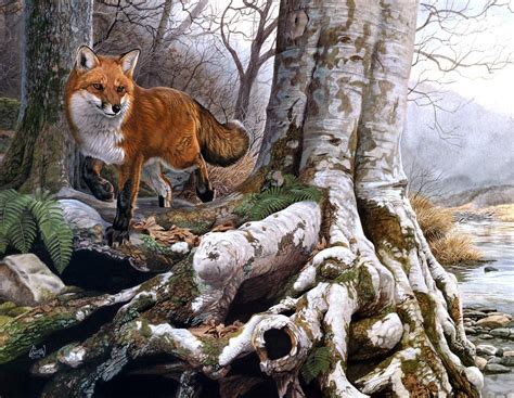 al agnew running wild painting red fox forest river autumn