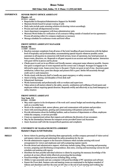 Office Assistant Resume by Front Office Assistant Resume Sles Velvet