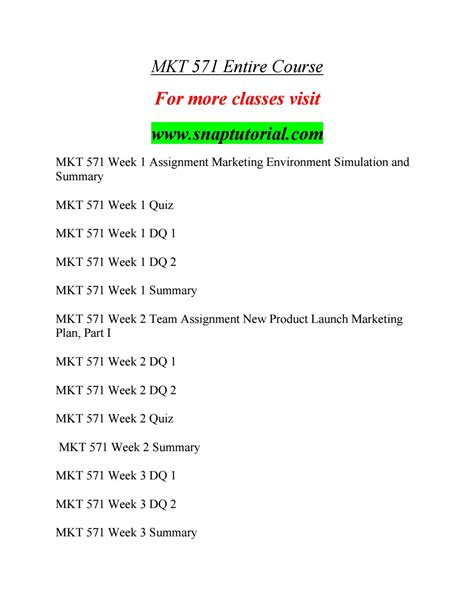 mkt 571 course success begins snaptutorial by