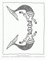 Coloring Merman Pages Clipart Line Popular Library sketch template