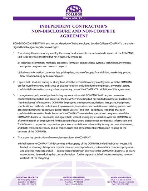 competition agreement contract forms