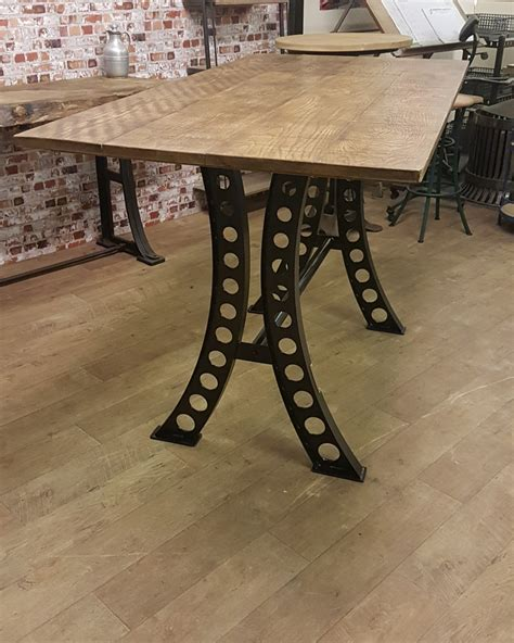 metal top dining table industrial based dining tables from recycled steel and 7819