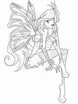 Winx Coloring Pages Flora Club Crew Cut Template Printable A4 sketch template