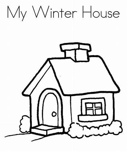 Coloring Pages Winter Cartoon Drawing Easy Houses