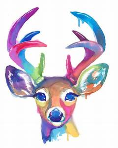 Colorful Deer Art Print Antlers Gift Abstract Painting