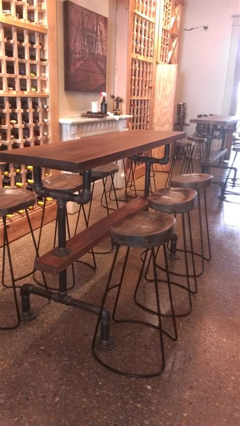 industrial farmhouse bar height kitchen table