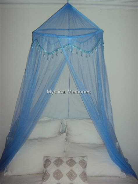 baby blue beaded mosquito net bed canopy fits cotsgledble bed  ebay