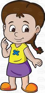 A cute looking preschool girl with braided hair • Vector ...