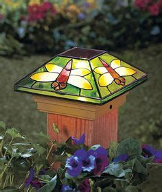 dragonfly solar fence post cap topper light patio deck