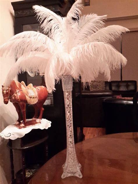 ostrich feather eiffel tower centerpiece clear eiffel