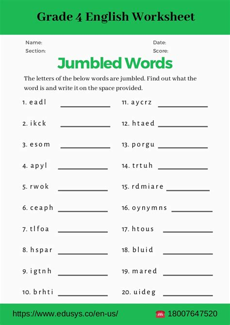grade english grammar worksheet