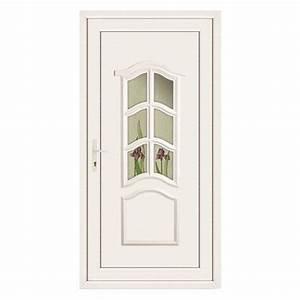 Porte D Entrée Blanche : porte d 39 entr e pvc jade poussant droit 215 x 90 cm ~ Melissatoandfro.com Idées de Décoration