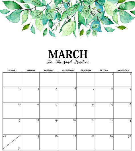cute march calendar printable kids