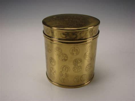 antique japanese  indian solid brass  jar box