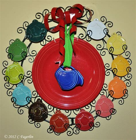 pin  carrie shepard  fiesta fanatic   fiestaware ornament display fiesta dinnerware