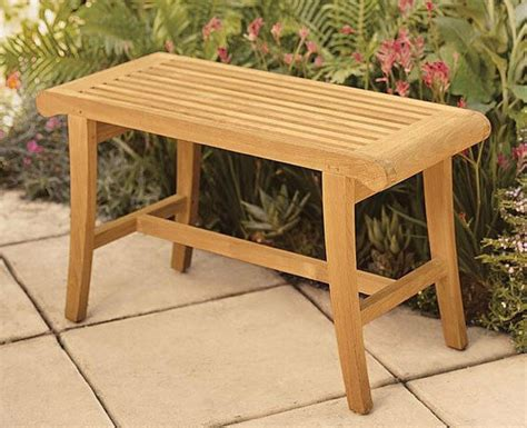 grade teak wood occasional bench stool shower spa bath
