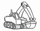 Coloring Digger Excavator Pages Printable Getcoloringpages Tractor sketch template