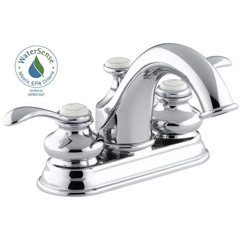 kohler fairfax   centerset  handle water saving bathroom faucet  polished chrome