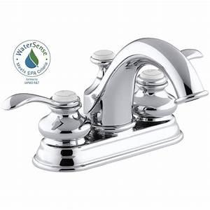 Kohler fairfax 4 in centerset 2 handle water saving for Water saving bathroom faucets