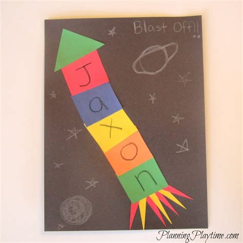 5 adorable preschool name crafts 571 | Preschool Name Craft Rocket