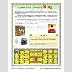 Ancient Chinese Dynasties Ming  Worksheets, Ancient China And China