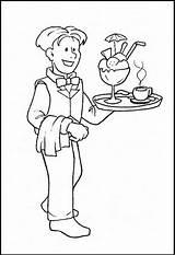 Waiter Coloring Pages Printable Waitress Plateau Community Helpers Sheet Sheets Opossum Coloringpagesfortoddlers Preschool Jobs Worksheets Profession Getcolorings Fun Helper Disimpan sketch template