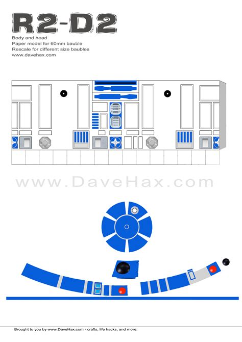 R2d2 Printable Template by Dave Hax S R2d2 Templates