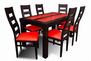 Table salle a manger hetre et rouge tables salle a for Meuble salle À manger avec chaise cuir rouge salle manger