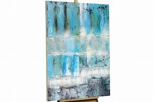 Acryl Gemälde 'ABSTRAKT PETROL' HANDGEMALT Leinwand