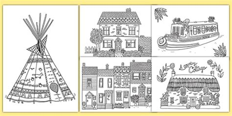 adult colouring mindfulness houses  homes pages houses