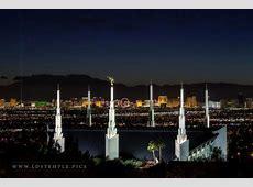 Las Vegas Temple & Strip at Night LDS Temple Pictures
