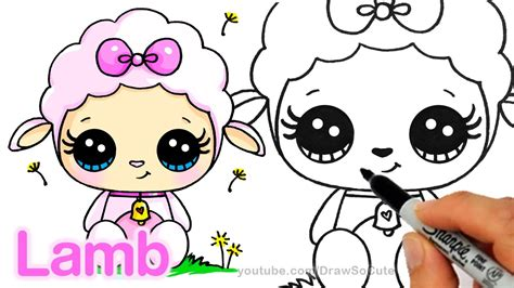 draw  cute lamb step  step easy cartoon animal