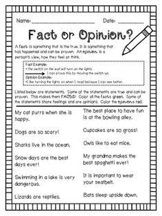 opinion or fact worksheet students worksheets and
