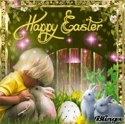 boy kissing bunny happy easter picture pictures