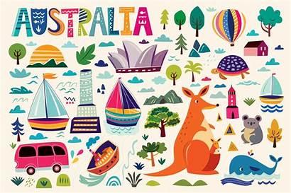 Australian Symbols Illustrations Australia Graphics Creativemarket Moleskostudio