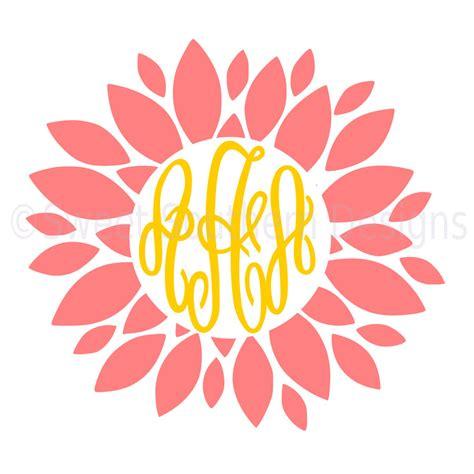 dahlia monogram flower svg instant  design  cricut