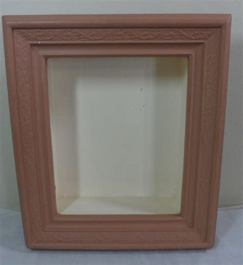 vintage shabby cottage country chic pink wood shadow box