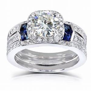 round cut moissanite bridal set with diamond sapphire 2 With blue wedding ring set