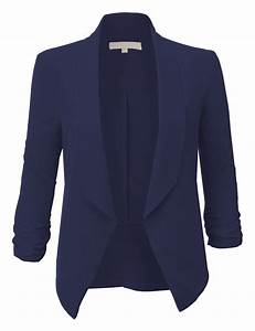 Womens Lightweight Ruched 3/4 Sleeve Open Front Blazer ...