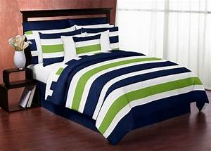 Navy Blue and Lime Green Stripe 3pc Teen Full Queen