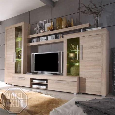 wohnideen tv wand details zu wohnwand boom anbauwand wohnzimmer sonoma eiche sägerau inkl beleuchtung