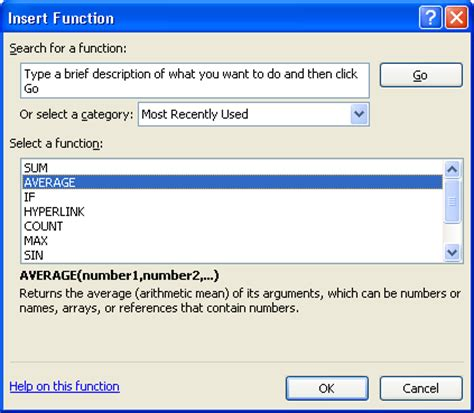 insert function button in excel 2007