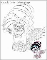 Coloring Cupcake Skull Dead Adult Sugar Printable sketch template