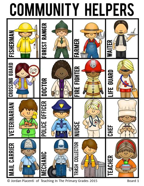 community pictures for preschoolers community helpers and occupations bingo 영어 보드게임 및 파닉스 111