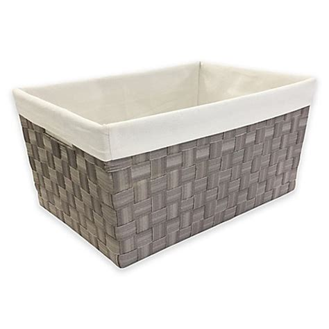 kitchen storage bins mystic apparel basket weave storage bin with liner in grey 3123