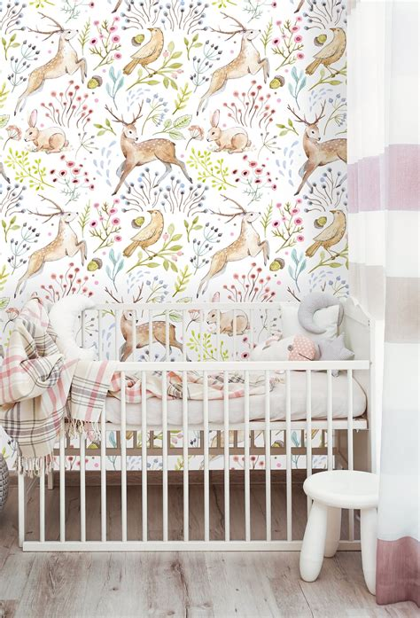 removable wallpaper  adhesive wallpaper woodland